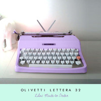 Vintage Lilac Olivetti Typewriter - Reconditioned Custom Painted Typewriter Includes Postage