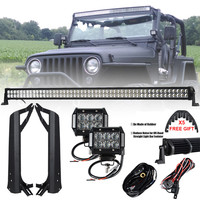 288W 50 inch Offroad LED Light Bar Combo + 4 inch 18W Bar LED Mounting Brackets for Jeep Wrangler