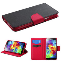 Book-Style Flip Stand Wallet Case for Galaxy S5 - Black/Red Liner