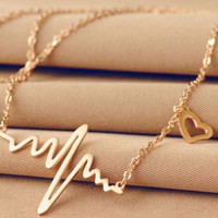 Heart Beat Pulse Elegant Gold Necklace