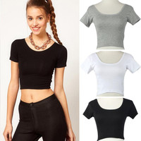 2017 Summer Short Sleeves Sexy Women Basic Tees Short Tops Cropped shirt Classic White Black Gray Workout Tops crochet top