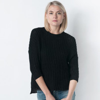 MILL MERCANTILE - Organic by John Patrick - 3/4 Sleeve Pullover Sweater with Slits in Black