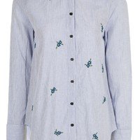 PETITE Floral Embroidered Stripe Shirt