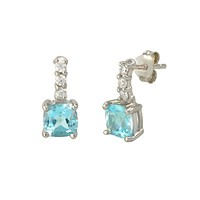 Blue Topaz Gemstone Stud Earrings 925 Sterling Silver CZ Row Atop Round Gem