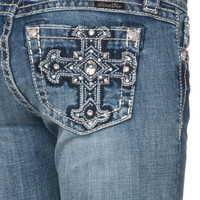 Miss Me Junior's Bling Cross Signature-Rise Bootcut Jeans