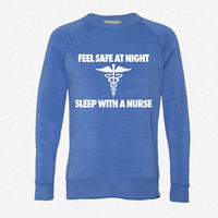 Feel Safe At Night Sleep With A Nurse_Rectangle fleece crewneck sweatshirt