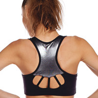 Racer Stitch Sports Bra - Black