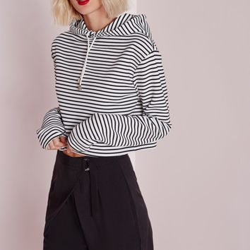 Missguided - Hooded Striped Cropped Sweatshirt Cream