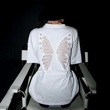 Taru Back Mesh Wings Long Shirt - White