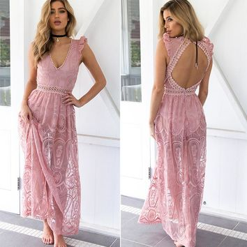 Lily Rosie Sheer Lace Maxi Dress