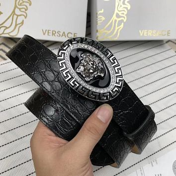 Versace Popular Men Women Chic Silvery Diamond Medusa Buckle Leather Belt