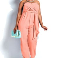 Plus Size Pink Strapless Lace Tie Jumpsuit