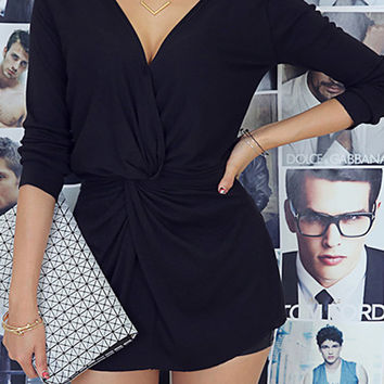 Black Wrap V- Front and Back Twist Long Sleeve Blouse