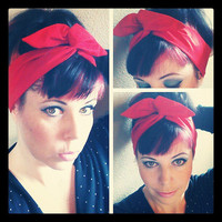 Bright Red Dolly Bow Headwrap Bandana Hair Bow 1940s 1950s Vintage Style Fabric - Rockabilly - Pin Up - For Women, Teens