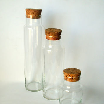 MINIMALIST CORK & GLASS Tall Vintage Clear Storage Canister Set Large set of 3 Simple Organizing Blown Glass Jars with Lids