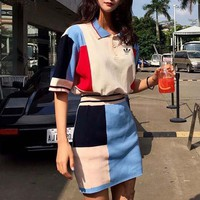 adidas women casual fashion multicolor short sleeve lapel shirt tops skirt set two piece