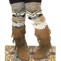 Brown Leg Warmers, Long Leg Warmers, Upcycled Clothing, OOAK Upcycled Leg Warmers, Chevron Leg Warmers, Scrunch Leggings, Gift for Her