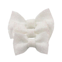Lot of 3 White Glitter Felt Hair Bows Beautiful & Sparkly with Free Shipping