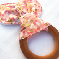 Natural Wooden Teething Ring - Peach Confetti Teether - Maple Hardwood Teething Ring - Bunny Ears Teether - Natural Teething