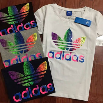 Adidas Originals Unisex Lover's Print Colorful Logo T-Shirt Top Tee