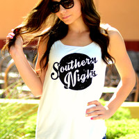 SOUTHERN NIGHTS TANK TOP IN WHITE