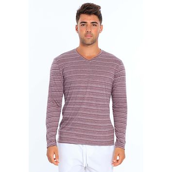 Men's Injected Yarn V Neck Long Sleeve T-Shirt
