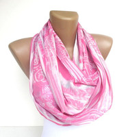 cutee pink infinity scarf, women loop scarf. pink and white chiffon scarves. Tube scarf,eternity scarf, trendy scarf