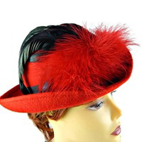 Red Hat with Black and Red Feathers Tilted Brim