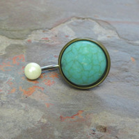 Turquoise Gemstone Belly Button Jewelry Ring