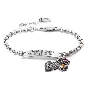 Coordinates and Names engraved Couples ID bracelet