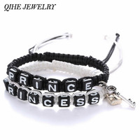 QIHE JEWELRY 2pcs Prince And Princess Charm With Lock And Key Black Rope Lovers Couple Bracelet Love Bracelet