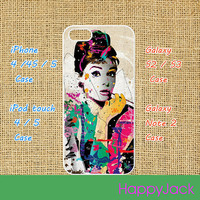 Audrey Hepburn art - iPhone 4 case , iphone 5 case , ipod touch case, ipod touch 5 case, samsung galaxy S3 / S2 case in black or white