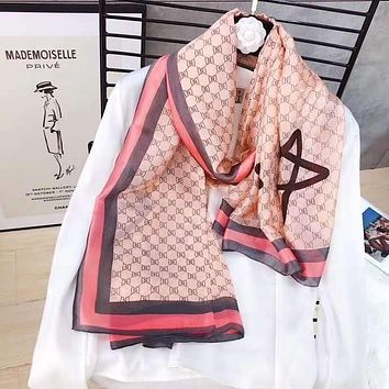 """Gucci"" Spring Summer Women Temperament Fashion Double-Sided Pentagram Print Spell Color Stripe Silk Scarf Shawl"