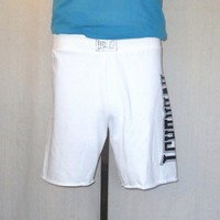 Vintage 80s EVERLAST WORK OUT Gym Boxing Soft White Small Medium Athletic Cut Off Style 50/50 Sweat Shorts