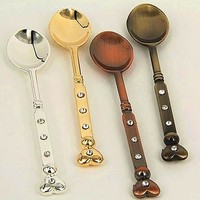 1pcs Carved Vintage Style Cutlery Small Coffee Spoons Kitchen Dining Bar Mini Dessert Spoons Dinnerware D4