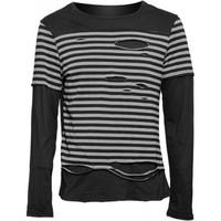 Gothic shop: striped and distressed men's long-sleeve shirt