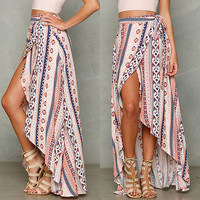 Boho Women Ladies Sexy Summer Bandage Beach Skirt Sundress Party Maxi Long Skirt Bikini Cover Up