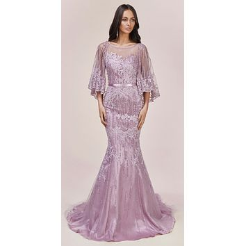 Andrea & Leo 5263 Long Lavender Lace Embellished Cape Mermaid Gown
