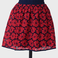 Bouquet Of Poppies Embroidered Skirt