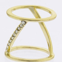 CRYSTAL ALIGNED DOUBLE BAR DESIGN RING - Size 6 - Gold