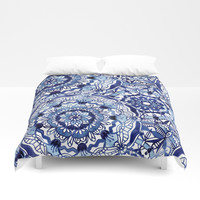 Delft Blue Mandalas Duvet Cover by noondaydesign