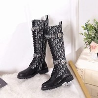 Dior   Trending Men Women Black Leather Side Zip Lace-up Ankle Boots Shoes High Boot