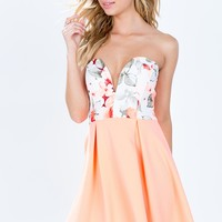 Floral Fusion Bustier Flare Dress
