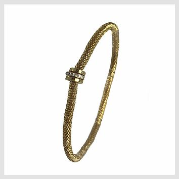 12K Gold Plated Mesh Chain Stretch Bracelet with Crystal Accent Rings