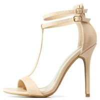 Natural Double Ankle T-Strap Heels by Charlotte Russe