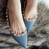 Bunchsun Valentino Classic Women Chic Rivet Pointed Leather Flat Sandals Single Shoes Blue