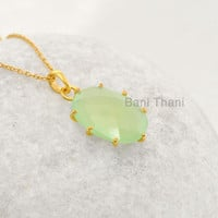 Green Prehnite Beautiful Oval 15x20mm - Handmade Prong Set Pendant Necklace - Micron Gold Plated 925 Sterling Silver Necklace #1630