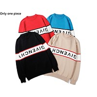 Givenchy hot seller of casual couples' sweaters and fashionable alphabet knits