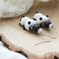 Black White Lampwork Panda Earrings, Animal Earrings, Woman and Girl Earrings, Cute Earrings, Lampwork Jewelry, Gift For Her, Panda Jewelry