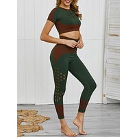 Classic Green Hollow Out High Rise Crop Sports Suit Best Design